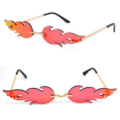 BEIFON Sonnenbrillen Creative Flamme Form Damen Herren Sonnenbrille Unisex Metall Brillenfassungen Mode Vintage Punk-Stil Sonnenbrille (Rot)