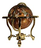 Unique Art Since 1996 14' Tall Amber Pearl Gold Stand Gem Gemstone World Map Globe Globes Maps