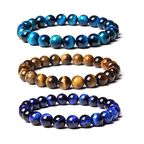 3/5PCS Blue Tiger Eye Bracelet, 8mm Feng Shui Tiger Eye Bracelet, Triple Protection Bracelet Healing Gemstone Bracelet Men Women Stretch Bracelet Gift (A)