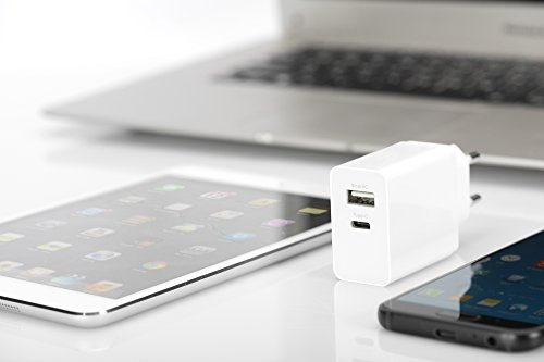 ednet 31813 Universal USB-Lade-Adaper, Ladegerät, 2-Port, 1x USB-A (5V, 2,4A max.) - 1x USB Typ-C (5V, 3A max.), Weiß