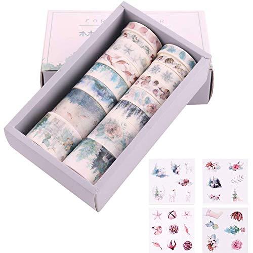 20 Rolls Washi Tapes Set & 8 Pieza Pegatina para DIY Manualidades Revistas Planificadores Tarjetas Scrapbook Diario de navidad y Envoltura de Regalos - Azul