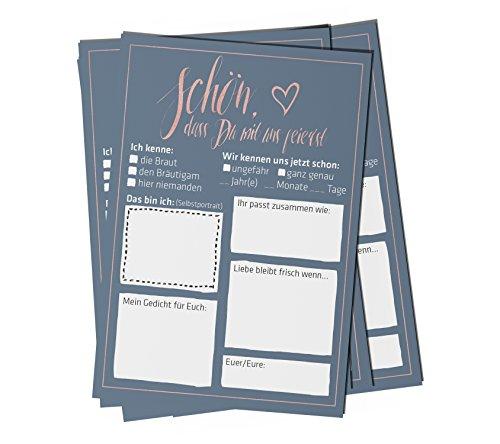 bigdaygraphix Hochzeitsspiel 52 Postkarten mit Fragen Glamour Alternative Gästebuch für Hochzeit...