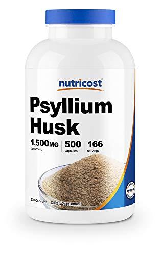 Nutricost オオバコ殻 500mg、1瓶分当たり - 500カプセル、1食分あたり - 3カプセル (1500mg)、非GMO、グルテンフリー