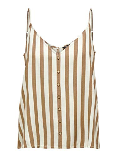 ONLY Womens ONLASTRID Singlet WVN NOOS Cami Shirt, Stripes:BEIGE Stripe Cloud Dancer, 38