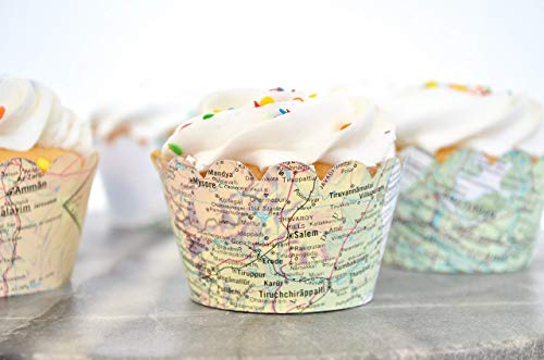 36 Vintage World Map Scalloped Cupcake Wrappers