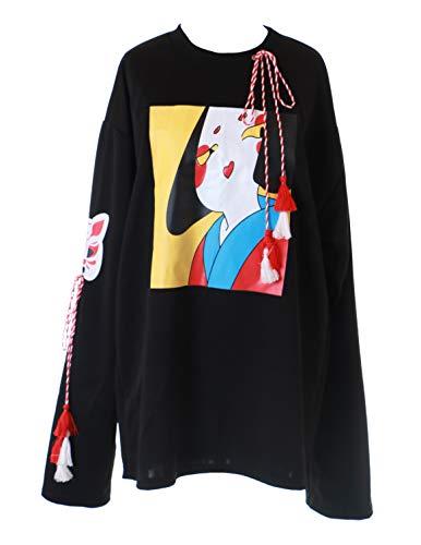 TS-203 zwart Geisha Japan vos Gott Kitsune pastel Goth Lolita shirt met lange mouwen Harajuku