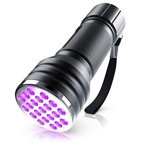 Brandson - Linterna LED UV Negra - Linterna de luz Negra UV - Lámpara Ultravioleta con 21x LED - Clase de eficiencia energética: A - Superficie de iluminación intensa