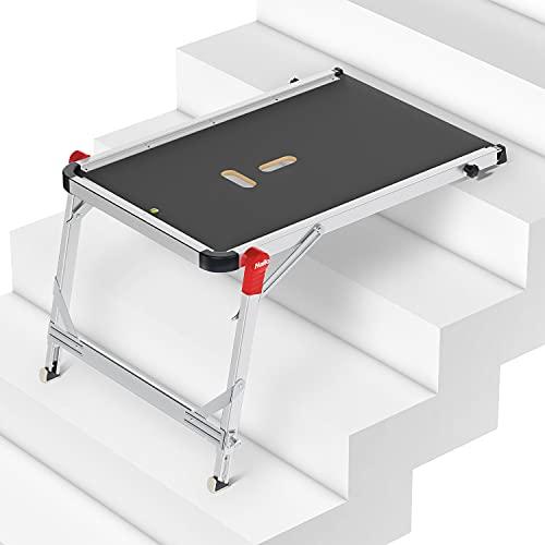 Hailo TP1 Treppenpodest | Arbeitsplattform aus rutschfester Siebdruckplatte mit Tragegriff und integrierter Libelle | Füße mit Soft-Grip-Sohle belastbar 150 kg | flexibel verstellbar | silber