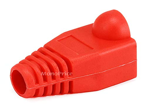 Monoprice [50pcs] RJ-45 Color Coded Strain Relief Boots - Red