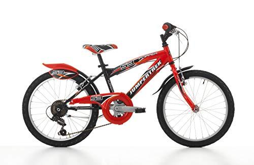 Cicli Cinzia Bicicletta 16' MTB Flipper per Bimbo, Senza Cambio, V-Brake Alluminio, con Parafango Nero/Rosso