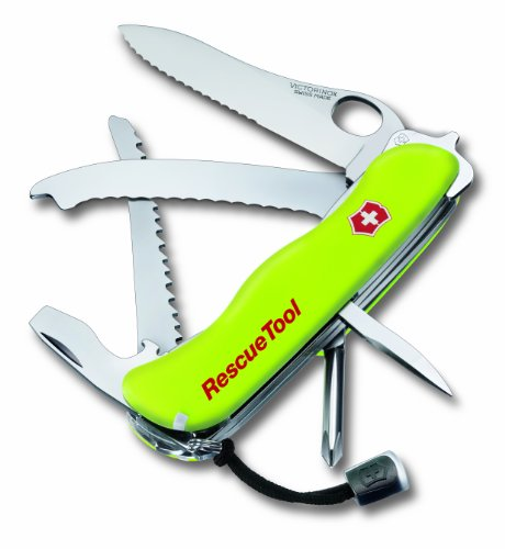 Victorinox Messer Rescuetool Einhänder mit Wellenschliff Nachleuchtend, Gelb, 0.8623.MW