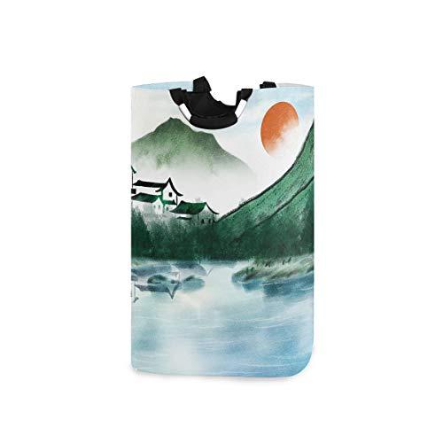 UMIRIKO Cesto de lavandería bolsa de pintura de tinta estilo chino aldea de montaña plegable cestas de lavandería cubo de tela bolsa de ropa de 50 l con asas 2020518