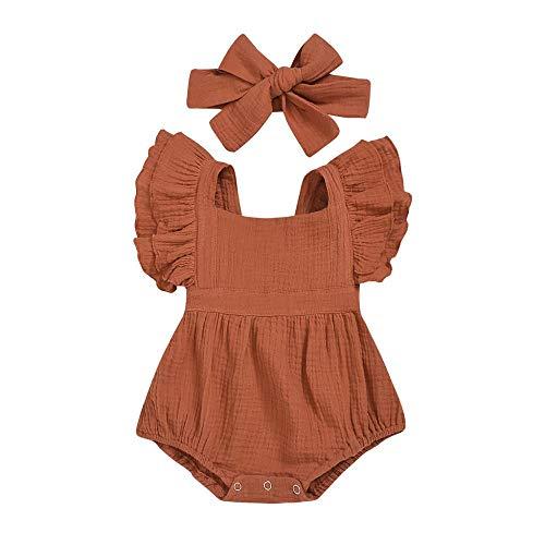 YEBIRAL Neugeborene Baby Mädchen Sommer Strampler Body Spielanzug Baumwolle Rüschen Einteiler Jumpsuit Shorts + Stirnband