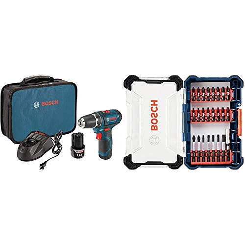 Bosch Power Tools Drill Kit - PS31-2A - 12V, 3/8 Inch, Two Speed Driver, Cordless Drill Set, Blue & 24 Piece Impact Tough Screwdriving Custom Case System Set SDMS24