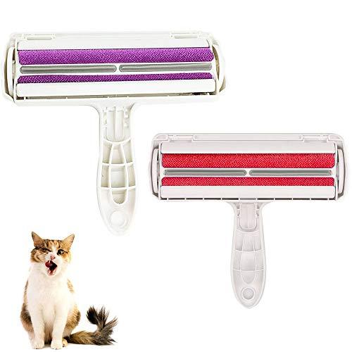 2 Piezas Cepillo Depilación para Mascotas, Cepillo de Depilación para Gatos, Reutilizable El Plastico Rodillo Removedor Pelo para Mascotas para Gato, Perro, Sofá, Ropa, Ropa de Cama (Rojo, Morado)