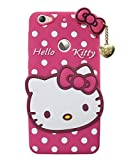 Cocklet Letv 1s Hello Kitty Back Cover, Soft Silicone Rubber Back Cover with (Heart Design) Pendant Compatible for Mobile Case Letv 1s - Pink Hello Kitty