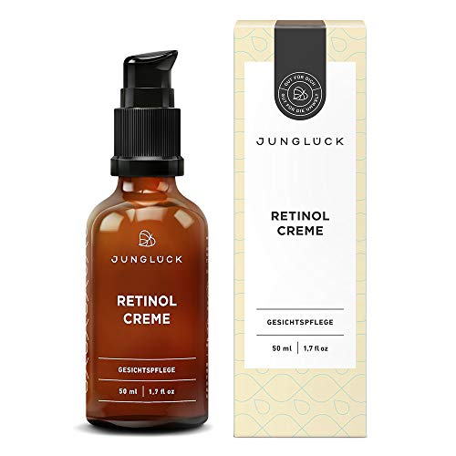 Junglück vegane Retinol Creme | 50 ml in Braunglas | Vitalisierende Gesichtspflege für strahlende Haut | Wir stehen für natürliche & nachhaltige Kosmetik made in Germany