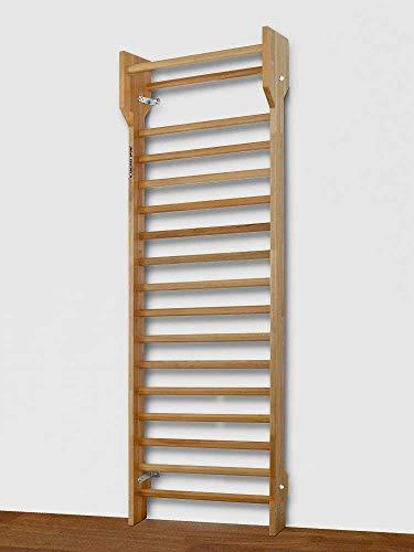 ARTIMEX Schwedisches Holzleiterset für Physiotherapie und Gymnastik-Verwendung in Heimen, Fitnessstudios, Kliniken, Fitnesscentern und Schulen- Sprossenwand aus Buchenholz, 240x90 cm, Code 216-F