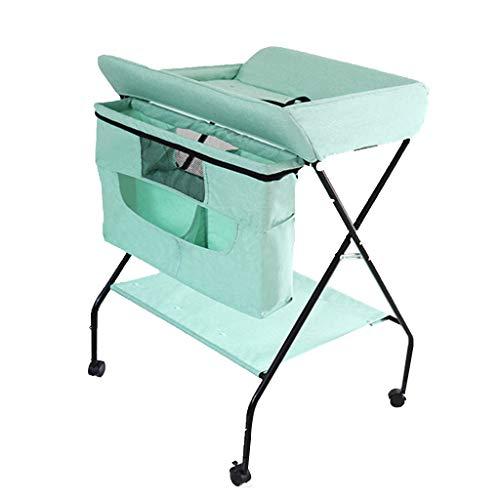 Table à Langer bébé avec Roues, Station de Couches Pliante Portable Mobile Nursery Organizer Storage Rack for Infant, Charge de Table à Couches: 0-30kg