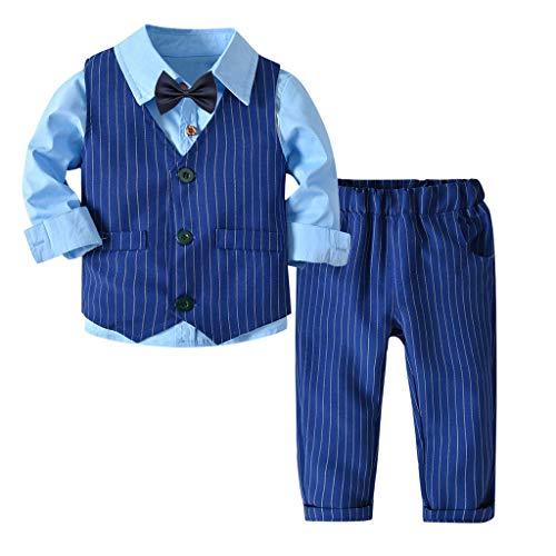 Riou-Baby Anzug Set Kinder Pullover Familie Pyjama Outfit Baby Jungen Gentleman Weste Bow Hosenträger Strap Hosen + Shirt Ausstattungs 3PCS Set (120, Blau)