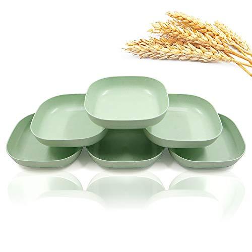 6 Stück 14,5 cm quadratische leichte Weizenstroh-Teller, tiefe Abendessen, Camping-Geschirr zum Servieren von Nudeln, Obst für Kinder, Kleinkinder und Erwachsene (grün)