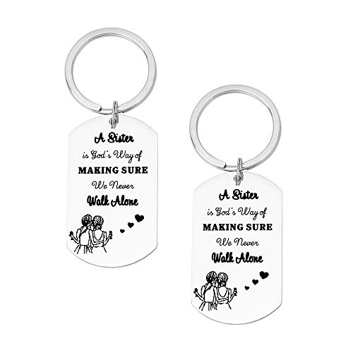 FY 2 Pcs Sister Keychain Best Friend Keychain Sister Gift from Sister A Sister is God's Way of Making Sure We Never Walk Alone