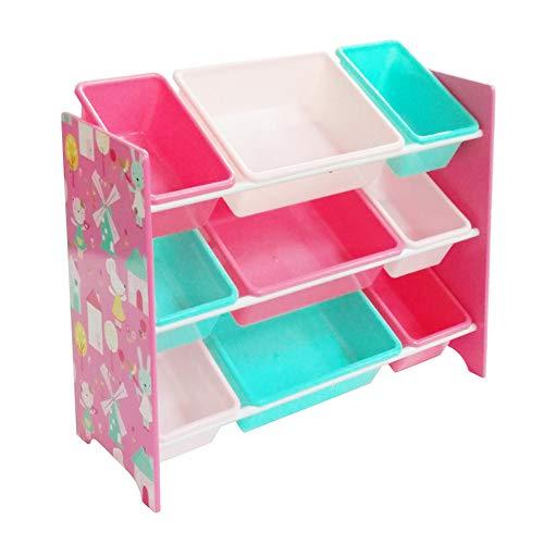 Style home Kinderregal Spielzeugregal AufbewAhrungsregal für Kinder, mit 9 Boxen aus Kunststoff Kinderzimmer Reagl Bücheregal, Rosa (84 x 60 x 30 cm)