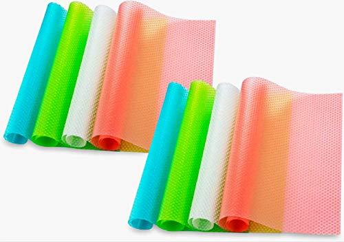 Bosdontek 8er Antibakterielle Kühlschrankmatten Matten entziehen Feuchtigkeit und Gerüch rutschfest,abwaschbar und zuschneidbar Kühlschrank Matte 30 x 45 cm