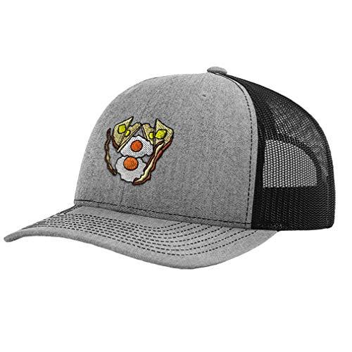 Richardson Trucker Hat Bacon & Eggs Embroidery Design Polyester Mesh Baseball Cap Snaps Heather Gray/Black Design Only