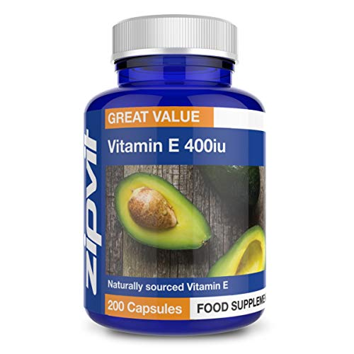 Vitamin E 400iu, 200 Softgels. Natural Vitamin E (d-Alpha Tocopherol). Powerful Antioxidant, Protects Cells from Oxidative Stress.