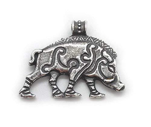 Celtic wild boar. silver pendant.