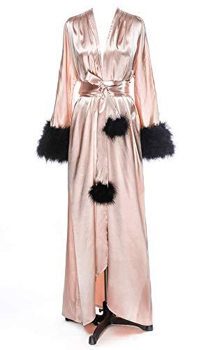 Long Feather Bridal Robes Shiny Silk Satin Bridesmaid Wedding Bachelorette Party Nightgown Bathrobe Blush-Black S/M