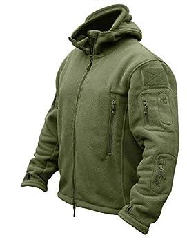 CRYSULLY Men s Tactical Front Zip Fleece Lining Hunting Mountaineering Jacket Windbreaker Coat Army Green