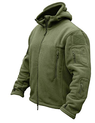 CRYSULLY Men's Tactical Front Zip Fleece Lining Hunting Mountaineering Jackets Windbreaker Coat Army Green