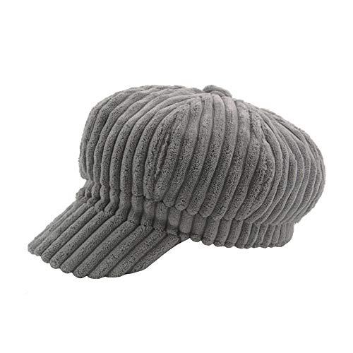 Sombrero de Gorro de Pintor de Pana con Rayas Gruesas para Hombre para Hombre Gorro Completamente Forrado. ! (Color : Gris)