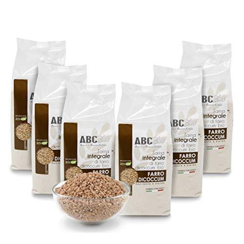 Carioni Food  Health Harina Integral de Farro ecológico, molida en Piedra   500 gr (Paquete de 6 Piezas)