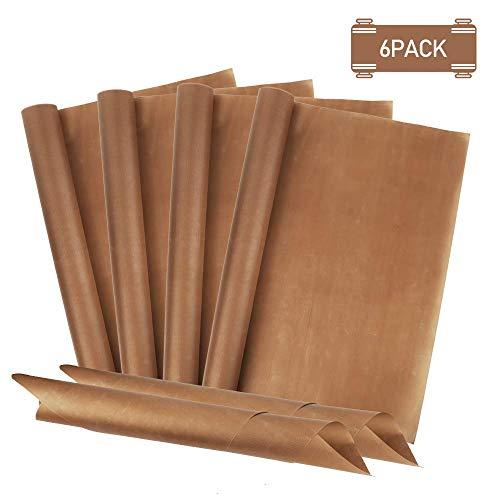 Redmoo Dauerbackfolie (6er Set, 40 x 60 cm) Premium Backpapier aus Glasfaser, Wiederverwendbar, Hitzebeständig, Antihaftbeschichtet Backfolie Zuschneidbar und spülmaschinenfest