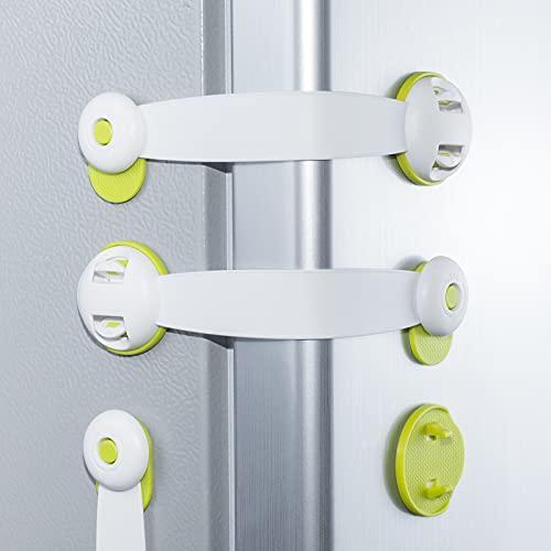 5 Pack Cerradura de puerta del refrigerador, Mini cerraduras de gabinete, para gabinetes de bloqueo, puertas corredizas, cajones, asiento de inodoro, congelador, asiento de armario, ventana, horno