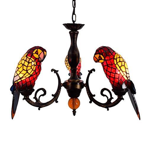 Luminaria colgante de techo Lámpara colgante del estilo de Tiffany Stained Glass Red Parrot aves lámpara colgante animal Sombras 3 armas de la lámpara de techo Con invertido