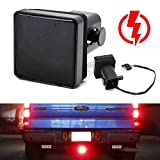 iJDMTOY Smoked Lens 15-LED Tow Hitch Receiver Brake Tail Light w/Strobe Feature Compatible With Truck SUV Trailer Equipped Class 3/4/5 2-Inch Towing Adapter Hole