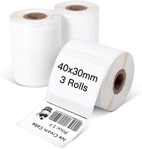 Phomemo Papel de etiquetas térmicas,3 rollos etiqueta autoadhesiva,etiqueta de dirección 1.57 x1.18  (40x30mm),adecuada para la impresora de etiquetas Phomemo M110 M200,230 etiquetas rollo,3 rollos