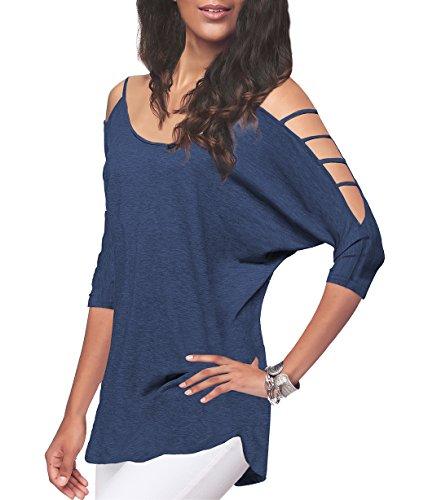 iGENJUN Women's Off Shoulder Shirt Half Sleeve Tunic Top Casual Blouse,Blue,M
