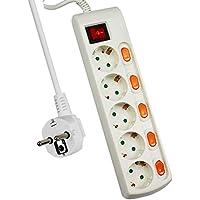 ExtraStar Regleta con 5 Tomas + 5 Interruptor Individuales, 3680 W, 250 V, Blanco …