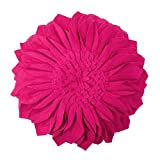 JWH Handmade 3D Flowers Accent Pillow Round Sunflower Cushion Decorative Pillowcase with Pillow Insert Home Sofa Bed Living Room Decor Gift 12 Inch / 30 cm Wool Rose Red