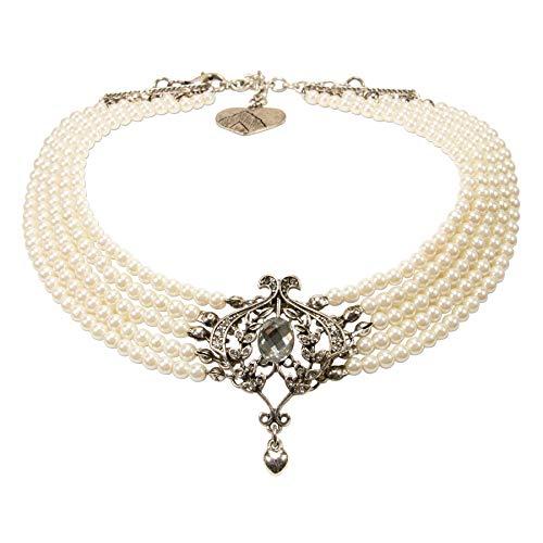 Alpenflüstern Trachten-Perlen-Kropfkette Greta - nostalgische Trachtenkette, eleganter Damen-Trachtenschmuck, Dirndlkette Creme-weiß DHK221