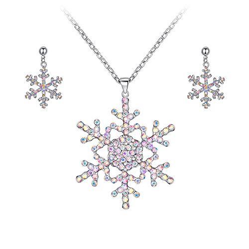 EVER FAITH Österreichische Kristall Winter Schneeflocke Halskette Ohrringe Set Iridescent Klar AB Silber-Ton