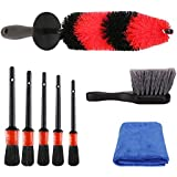 SPTA 8Pcs Wheel & Tire Brush Car Detailing kit, Easy Reach Wheel and Rim Brush, 5pcs Detailing Brushes, Short Handle Cleaning Brush, 1pc Microfiber Cleaning Cloth, Great to Clean Dirty Tires