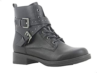 Sprox Faux Leather Side Zip Cross Strap Buckle Detail Combat Boots with Pull Tab For Women
