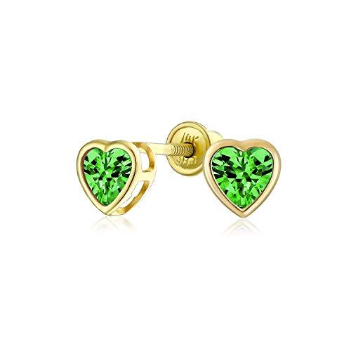 .25Ct Minúsculo Zirconio Cúbico Bisel Verde Corazón CZ Pendiente De Boton Simulado Real Esmeralda Oro De 14K Screwback