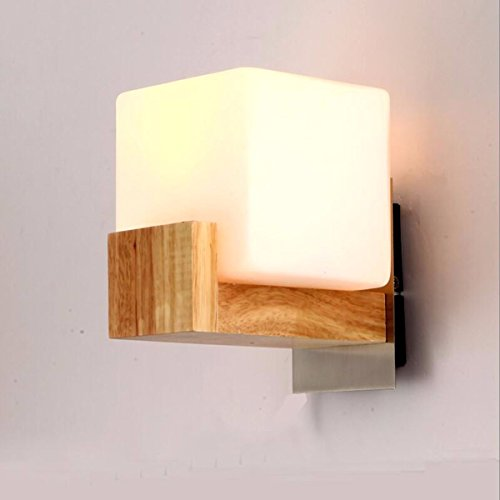 ZPSPZ Applique Murale Le Japonais Creative Conduit Mur En Bois Chambre Lampe De Chevet Mur Lampe Dans Le Salon Balcon Les Billes De Bois,Un